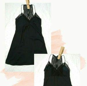 Kendall & Kylie Black Silky Slip Dress